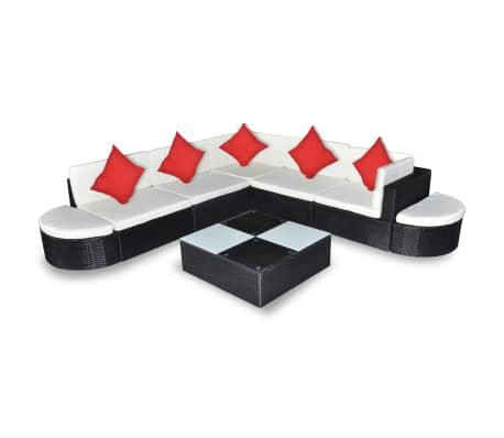 vidaXL 8 pcs conjunto lounge de jardim c/ almofadões vime PE preto