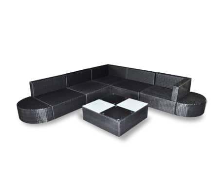 vidaXL 8-delige Loungeset met kussens poly rattan zwart[4/5]