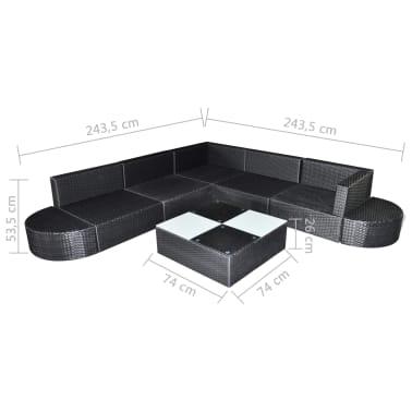 vidaXL 8-delige Loungeset met kussens poly rattan zwart[5/5]