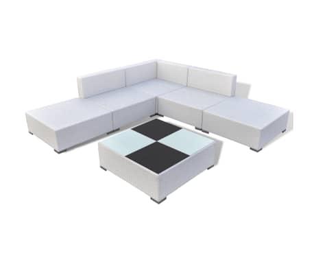 vidaXL Mobilier de jardin 6 pcs avec coussins Résine tressée Blanc