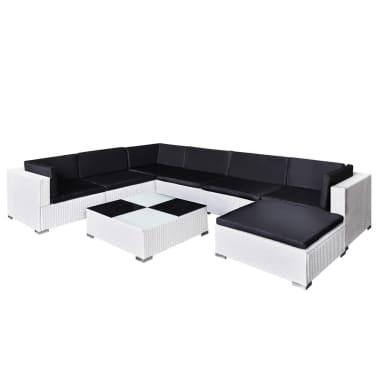 Vidaxl set divani da giardino 24 pz in polirattan bianco for Set divani da giardino