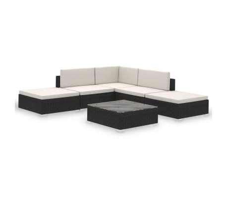 vidaXL 6 Piece Garden Lounge Set with Cushions Poly Rattan Black[2/7]