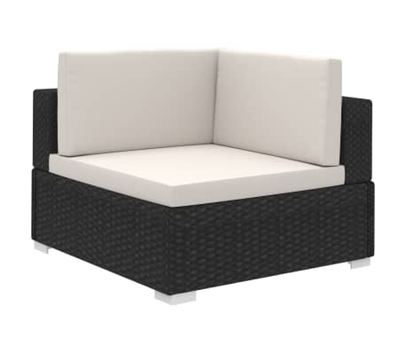 vidaXL 6 Piece Garden Lounge Set with Cushions Poly Rattan Black[3/7]