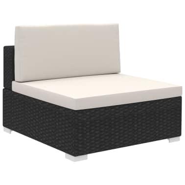 vidaXL 6 Piece Garden Lounge Set with Cushions Poly Rattan Black[4/7]