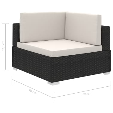 vidaXL 6 Piece Garden Lounge Set with Cushions Poly Rattan Black[7/7]