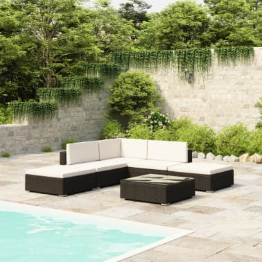 vidaXL 6 Piece Garden Lounge Set with Cushions Poly Rattan Black[1/7]
