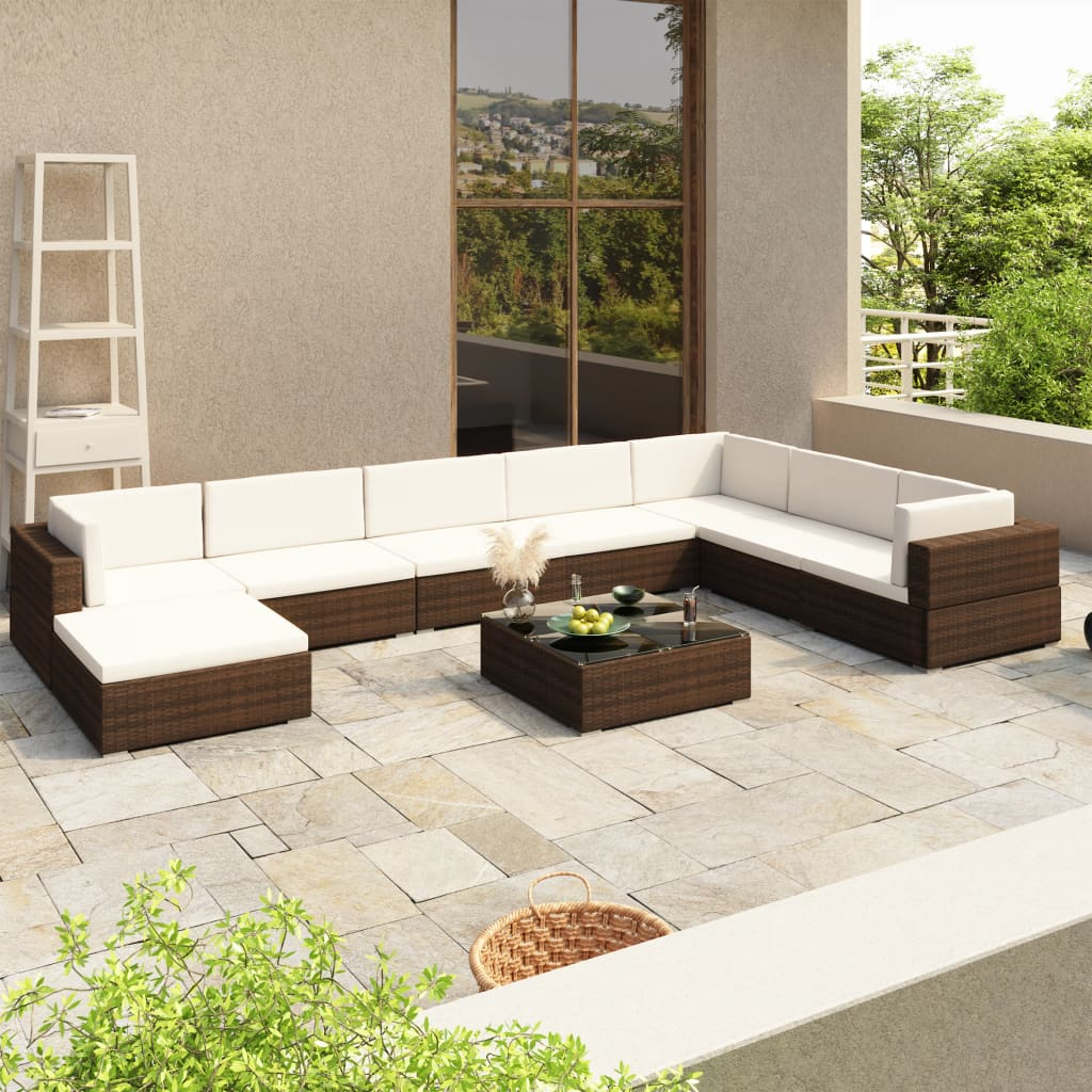 vidaXL Utendørs sofagruppe 24 deler brun polyrotting