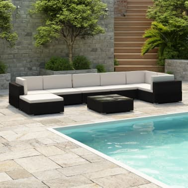 vidaXL 8 Piece Garden Lounge Set with Cushions Poly Rattan Black[1/7]