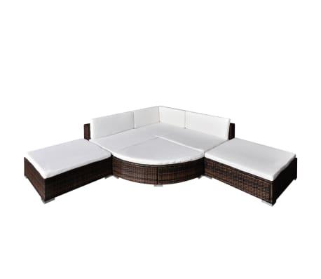 vidaXL 6-delige Loungeset met kussens poly rattan bruin[2/5]