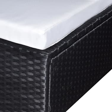 vidaXL 6-daļīgs dārza atpūtas mēbeļu komplekts ar matračiem, PE, melns[3/4]
