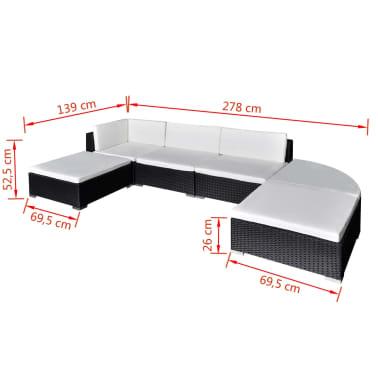 vidaXL 6-daļīgs dārza atpūtas mēbeļu komplekts ar matračiem, PE, melns[4/4]