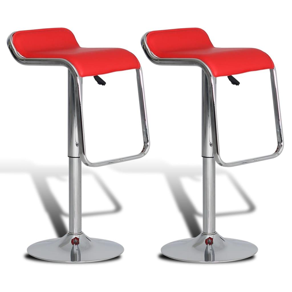 2 ks Červené nastavitelné barové stoličky otočné