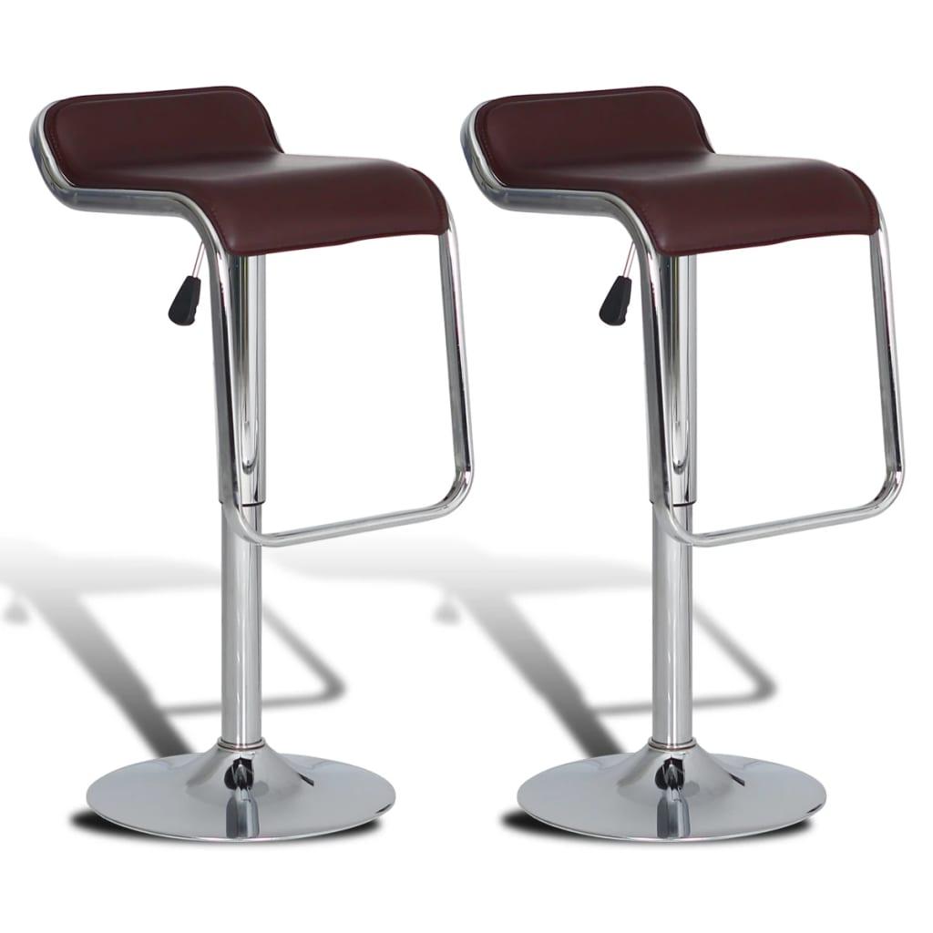 2 ks Hnědé nastavitelné barové stoličky otočné