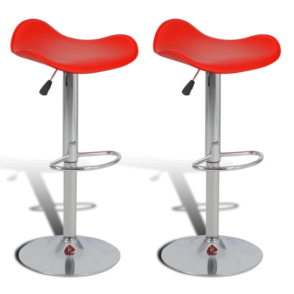 2 ks Červené nastavitelné otočné barové stoličky se zakřivenými okraji