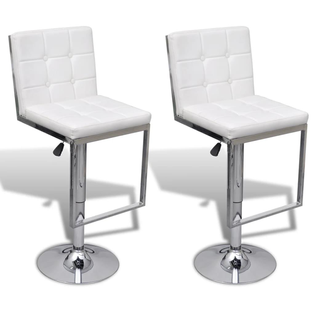 vidaXL Barové židle 2 ks umělá kůže, nastavitelné a otočné, bílé