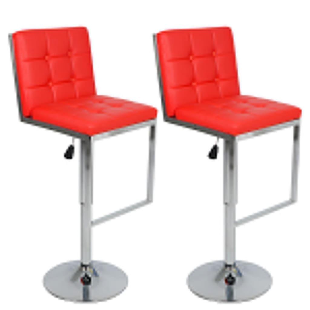 Nastavitelné otočné barové židle vysoká opěradla červená koženka 2 ks