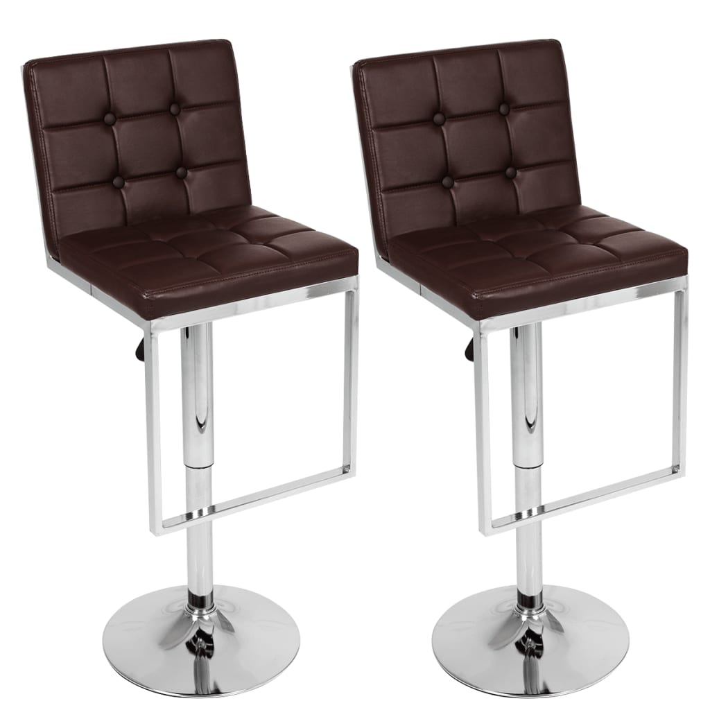 Nastavitelné otočné barové židle vysoká opěradla, hnědá koženka, 2 ks