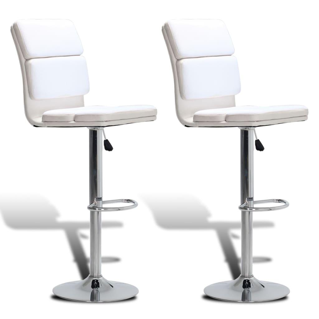 vidaXL Barové židle s vysokým opěradlem 2 ks nastavitelné otočné bílé
