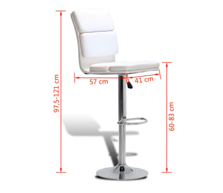 vidaxl tabouret de bar 2pcs pivotement r glable blanc et dossier haut. Black Bedroom Furniture Sets. Home Design Ideas
