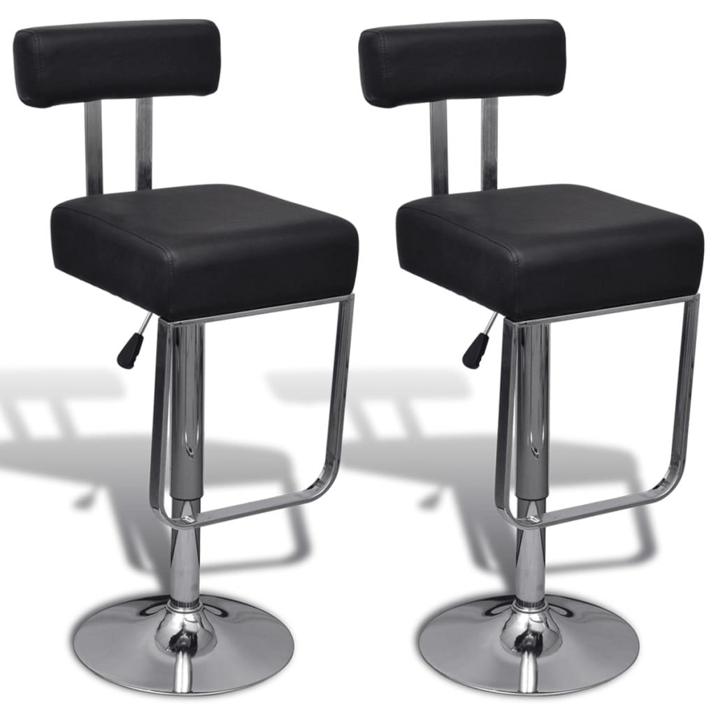 vidaXL Barové židle 2 ks umělá kůže, nastavitelné a otočné, černé