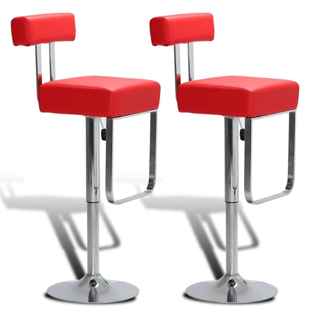2 ks Červené nastavitelné otočné koženkové barové stoličky s opěradly