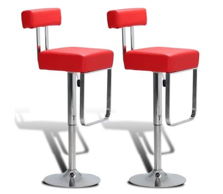 acheter 2 tabourets de bar rouges pivotant et ajustables hauteur avec dossier pas cher. Black Bedroom Furniture Sets. Home Design Ideas