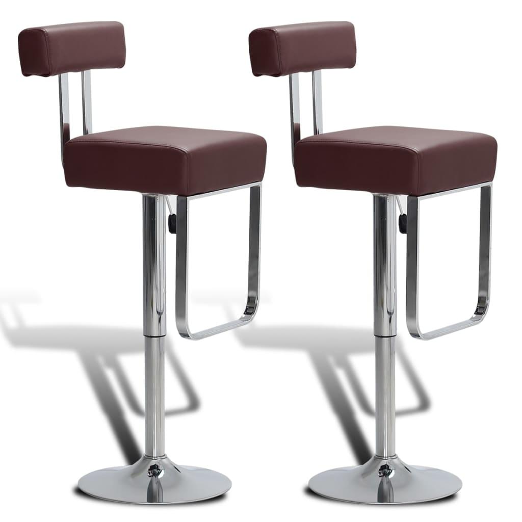 2 ks Hnědé nastavitelné otočné koženkové barové stoličky s opěradly