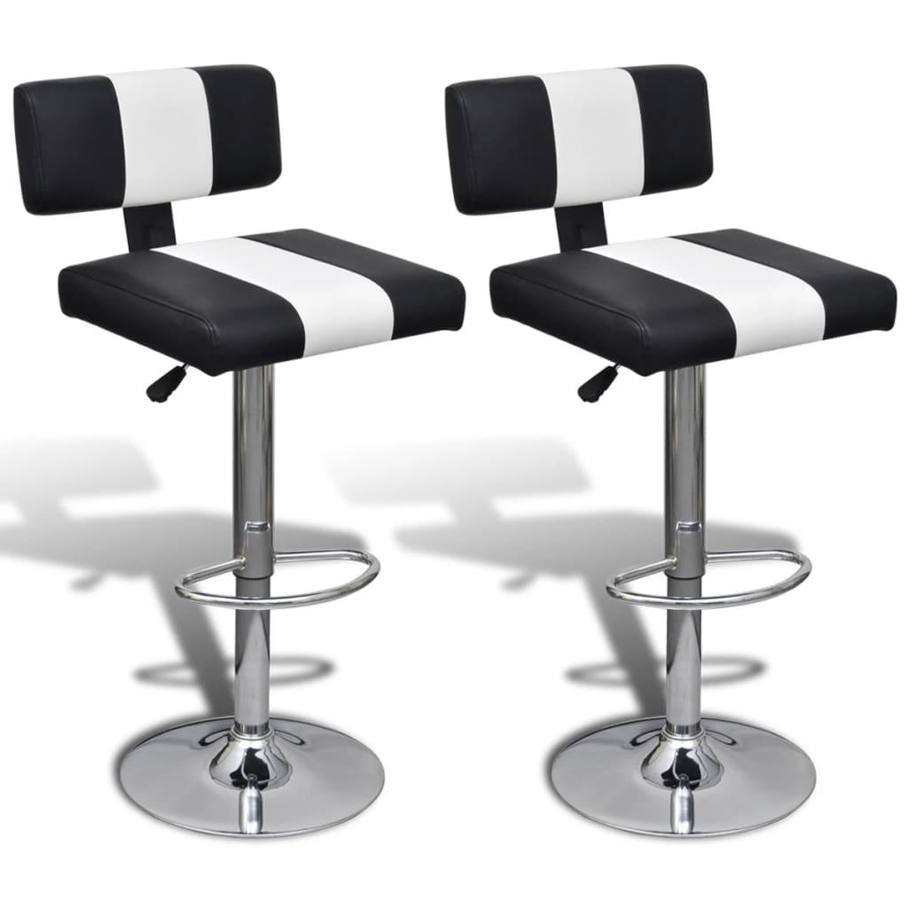 Nastavitelné otočné barové židle s opěradly, černobílá koženka, 2 ks