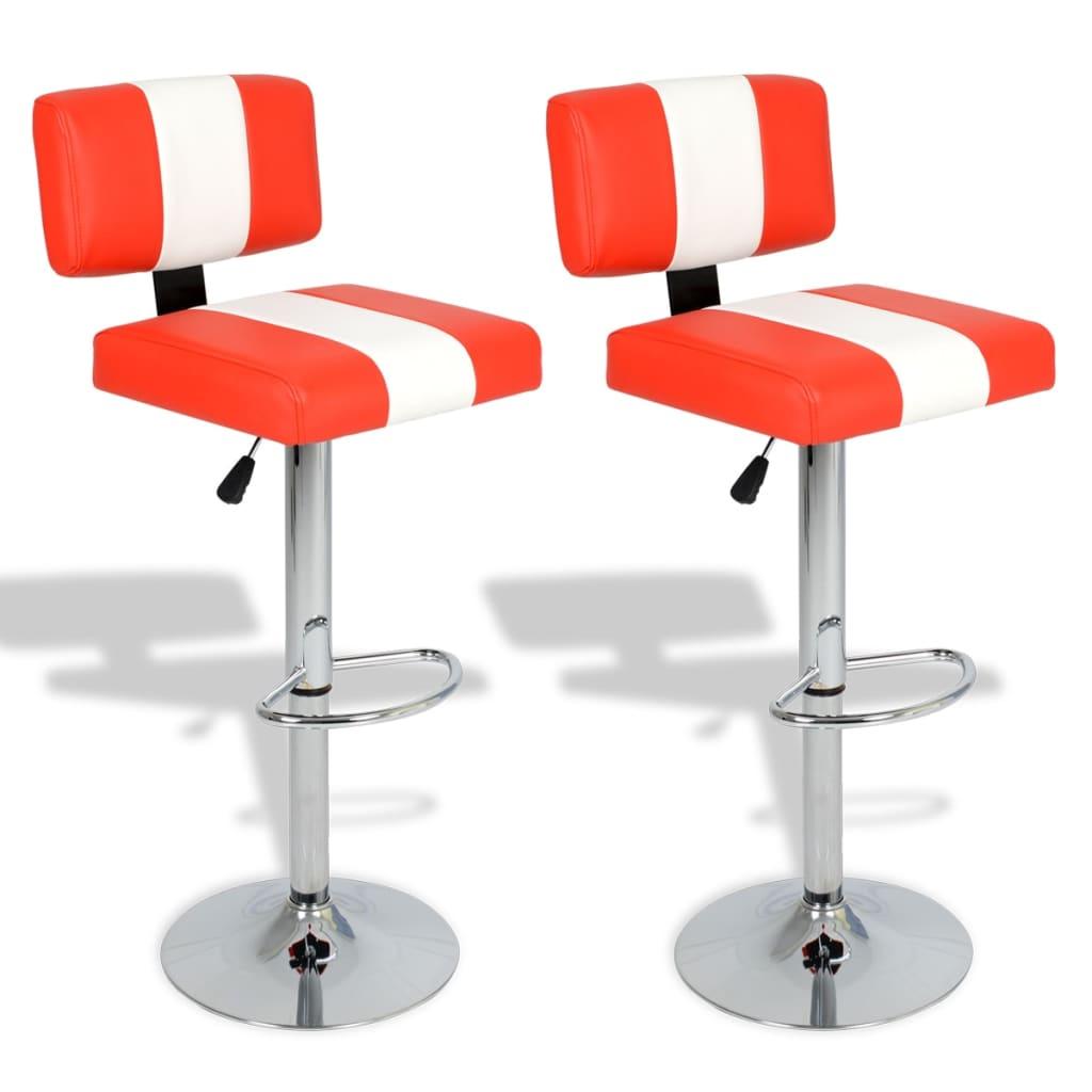 Nastavitelné otočné barové židle s opěradly, červenobílá koženka 2 ks