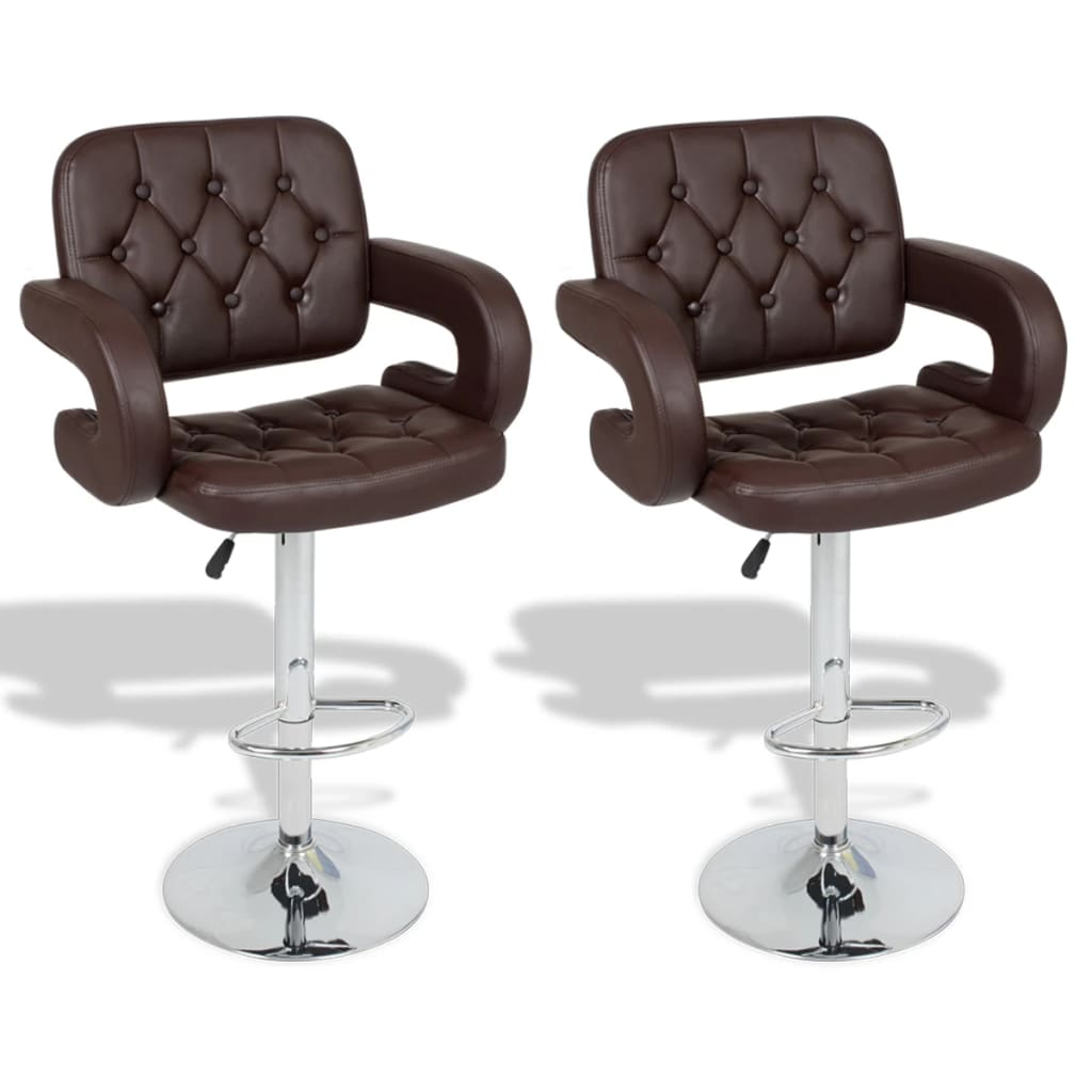 Nastavitelné otočné barové židle, oblé područky, hnědá koženka, 2 ks