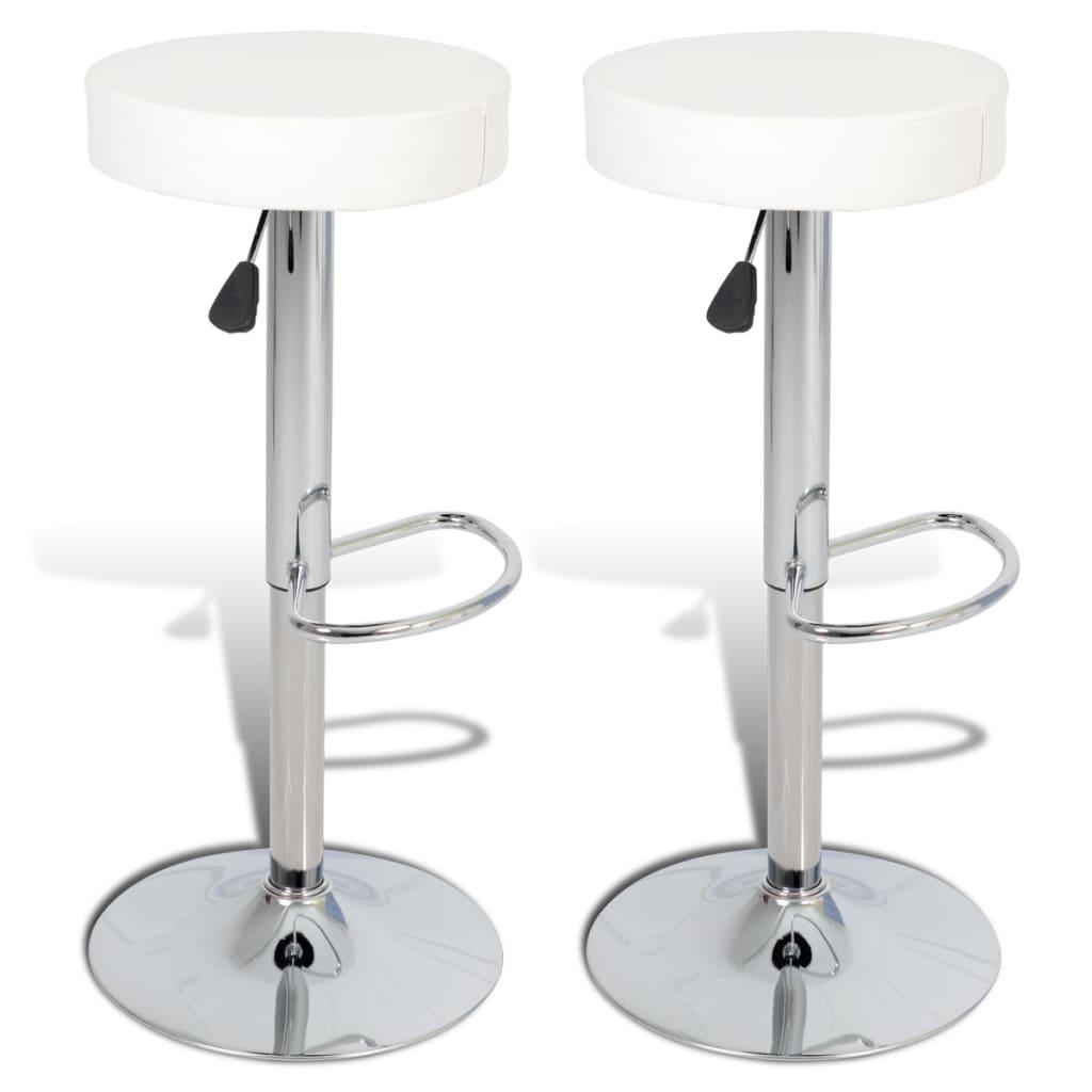 vidaXL Barové stoličky 2 ks kulaté, umělá kůže, bílá