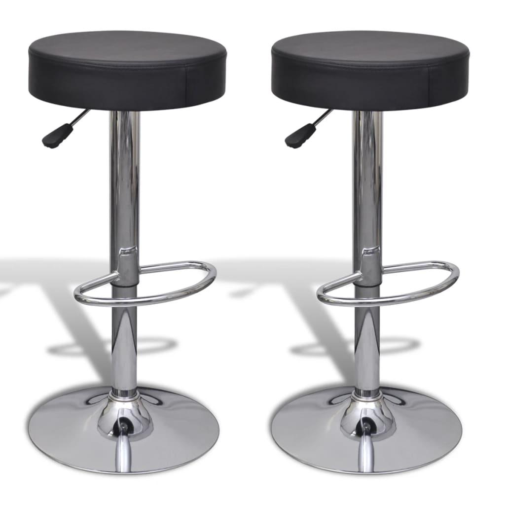 vidaXL Barové stoličky 2 ks kulaté, umělá kůže, černá