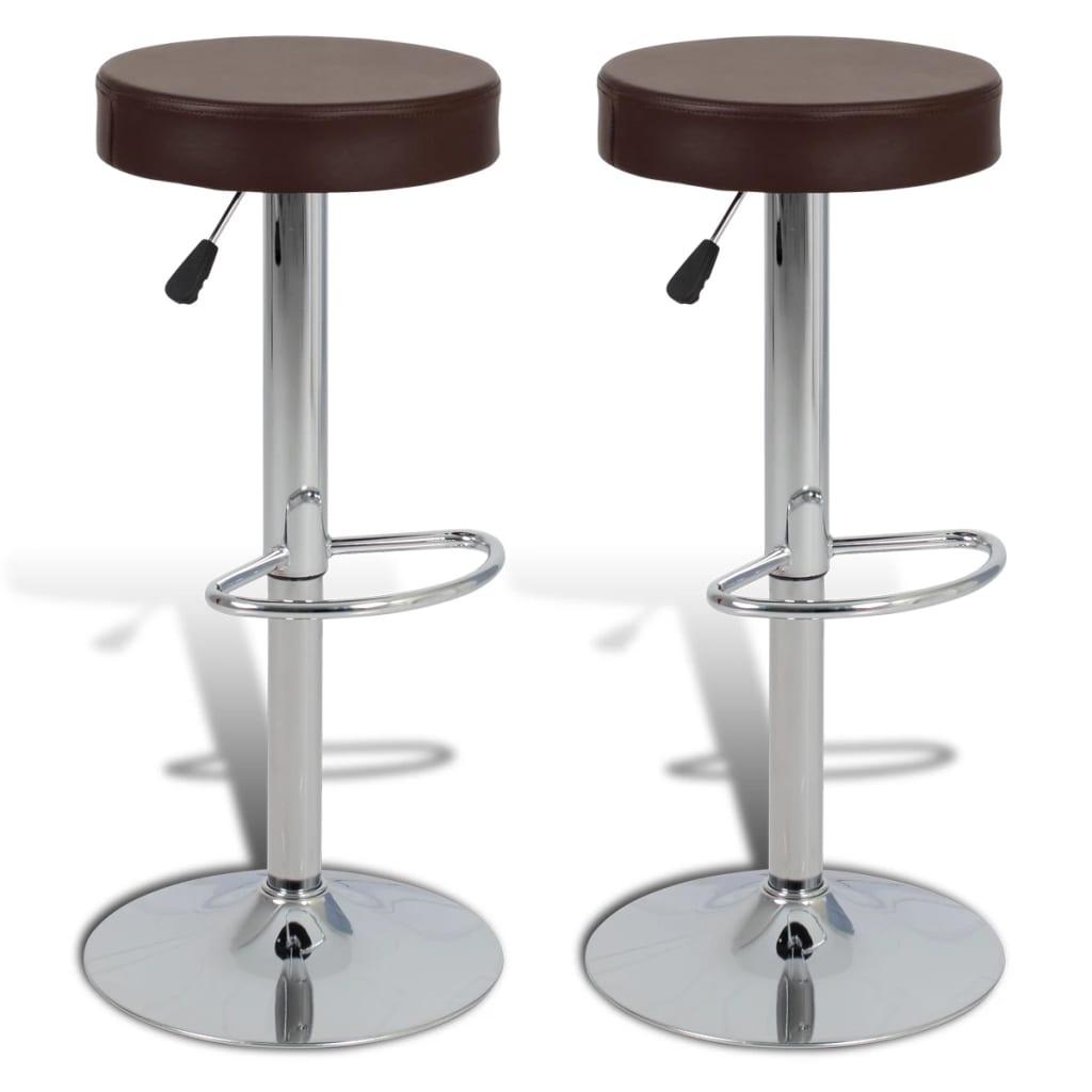 2 ks hnědé kulaté barové stoličky z imitace kůže
