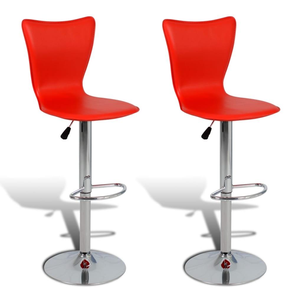 2 ks Červené nastavitelné otočné barové židle ve tvaru písmene L