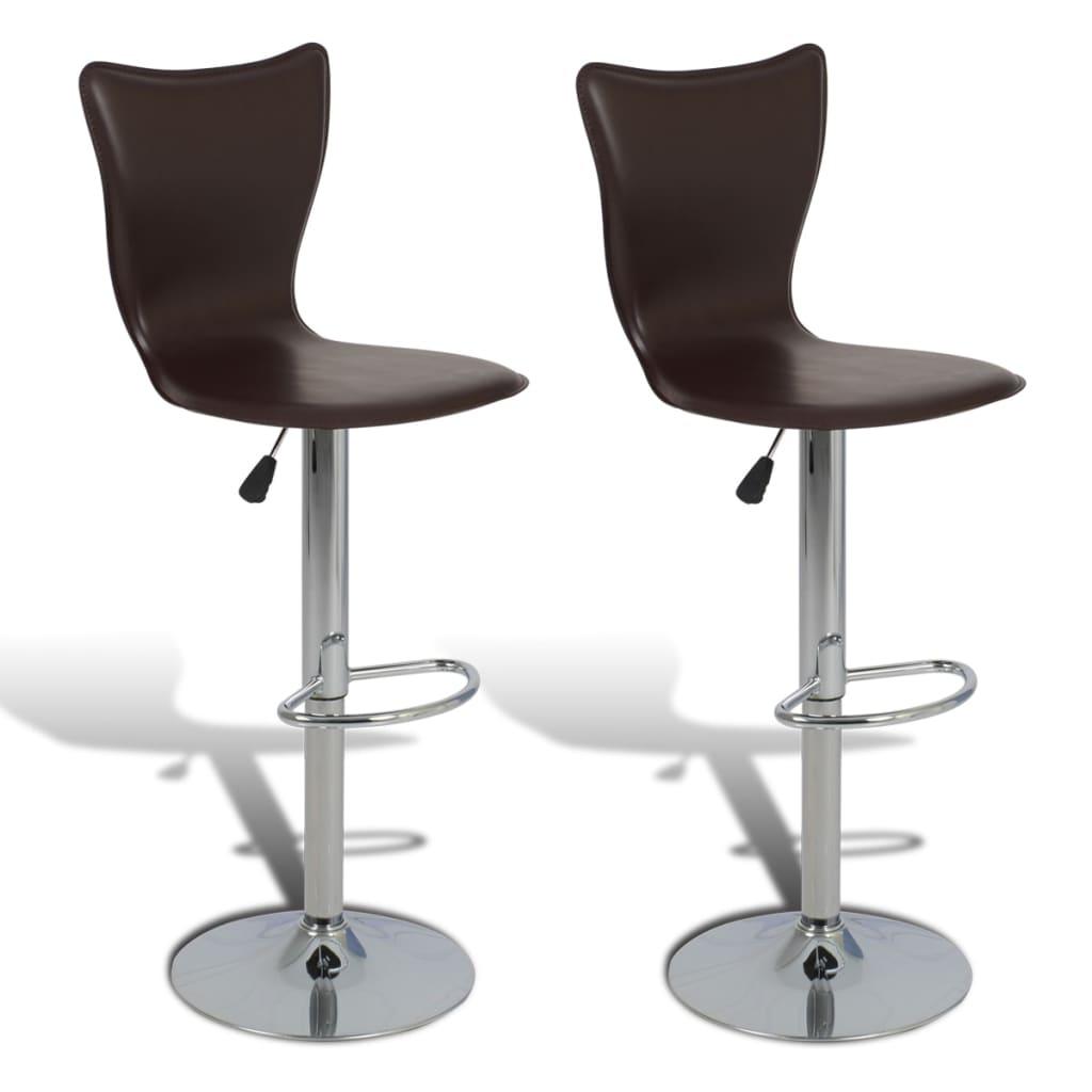2 ks Hnědé nastavitelné otočné barové židle ve tvaru písmene L