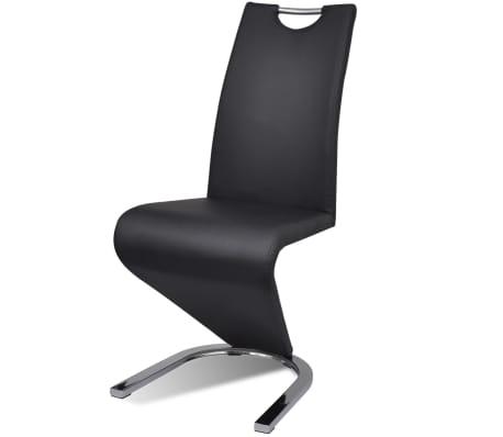 Vidaxl sillas de comedor cantilever 6 uds forma u cuero artificial negro - Vidaxl sillas ...