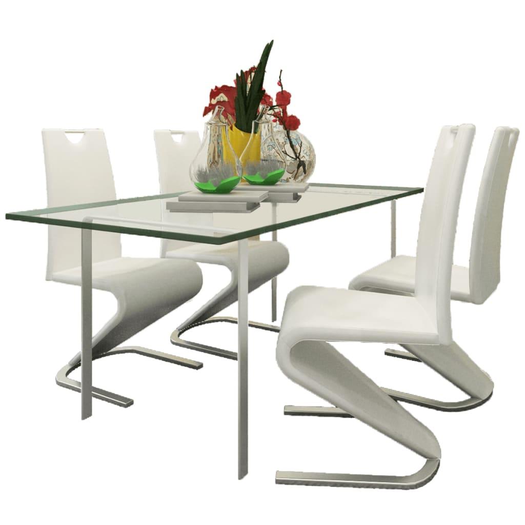 vidaXL Konzolové jídelní židle 4 ks tvar U umělá kůže bílá