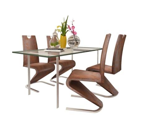 Vidaxl sillas de comedor cantilever 4uds forma u cuero for Sillas comedor cuero marron