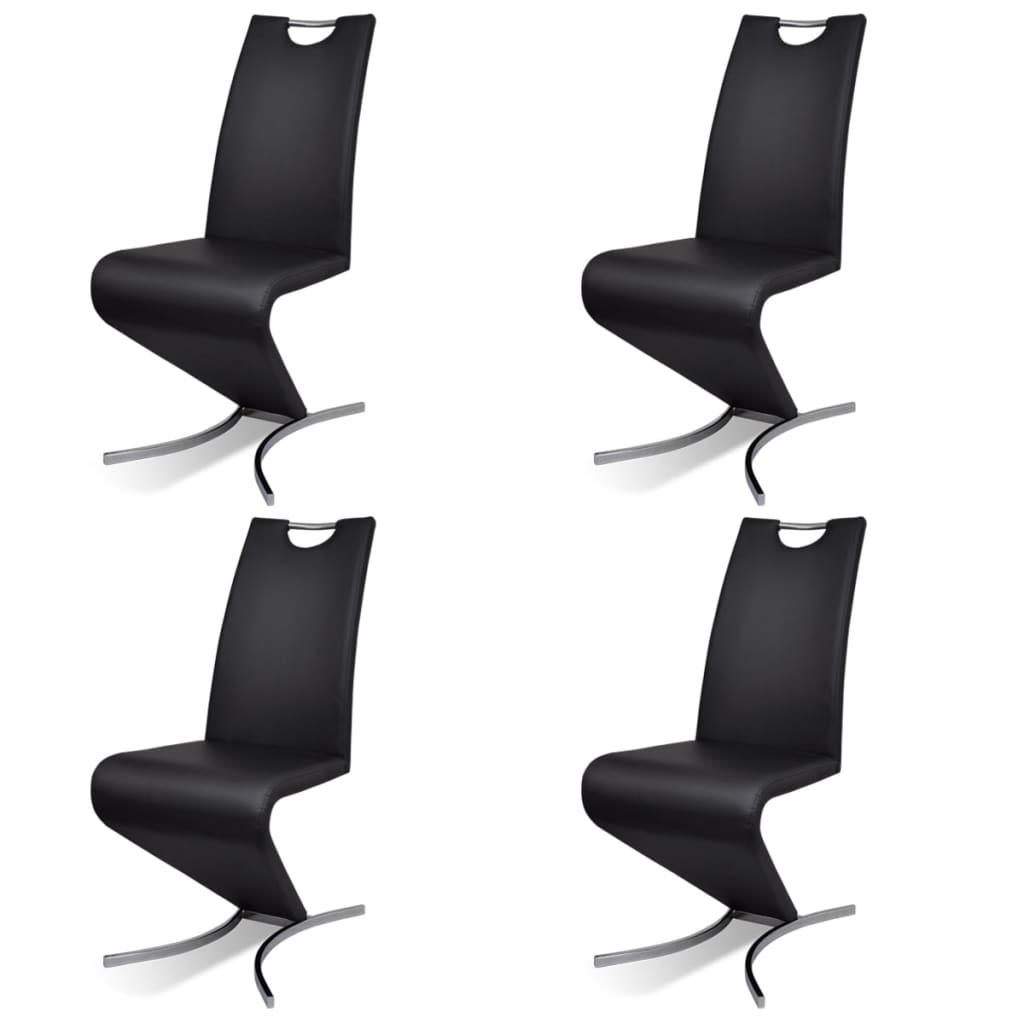 """vidaXL Καρέκλες Τραπεζαρίας """"Πρόβολος"""" 4 τεμ. Μαύρες από Δερματίνη"""