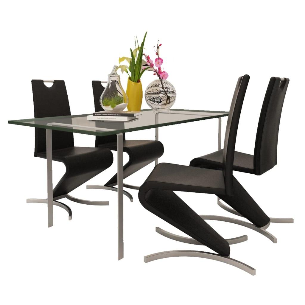 vidaXL Konzolové jídelní židle 4 ks tvar H umělá kůže černá
