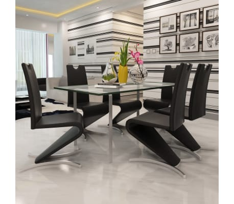 Vidaxl 6 pz sedie da pranzo cantilever forma a h in for Sedie in similpelle