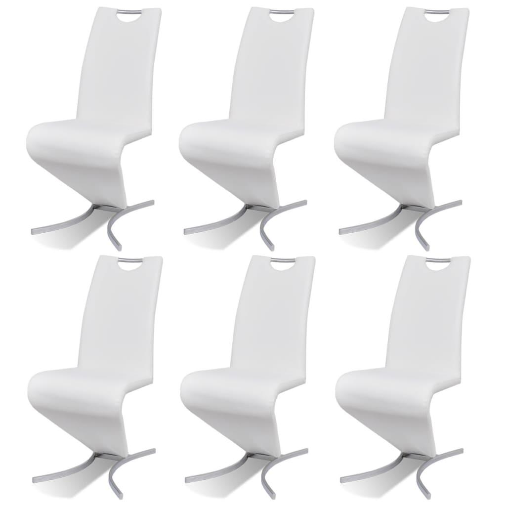 vidaXL Καρέκλες Τραπεζαρίας «Πρόβολος» 6 τεμ. Λευκές από Δερματίνη