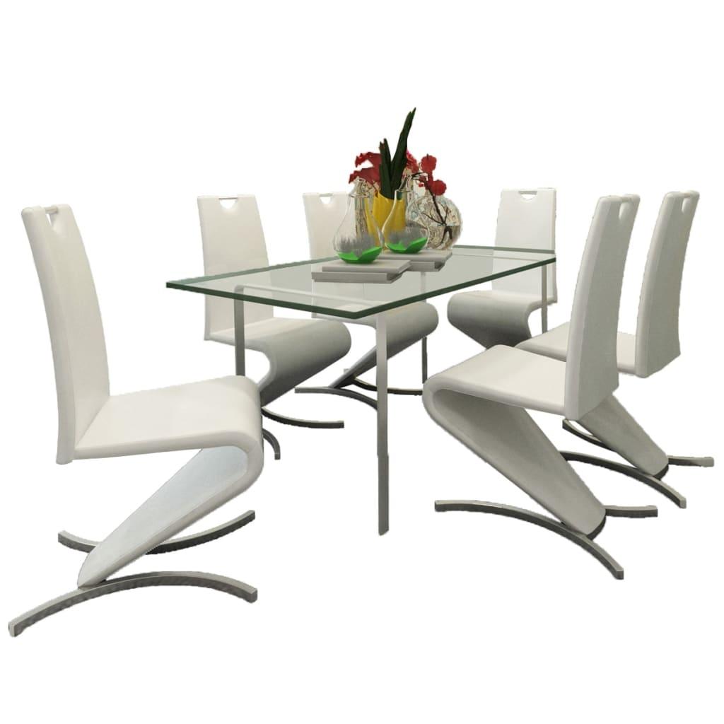 vidaXL Konzolové jídelní židle 6 ks tvar H umělá kůže bílá