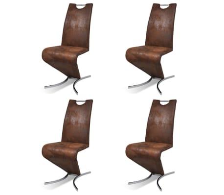 vidaXL Jedálenské stoličky 4 ks, hnedé, umelá koža