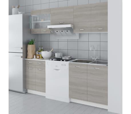 vidaxl k chenzeile 5 tlg mit einbausp le 80 60 cm eichen look zum schn ppchenpreis. Black Bedroom Furniture Sets. Home Design Ideas