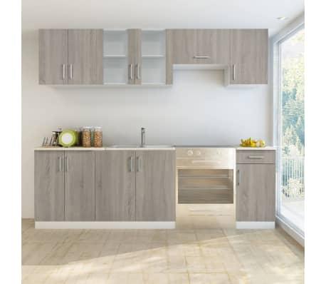acheter vidaxl armoire de cuisine avec vier 7 pcs 80 x 60 cm aspect de ch ne pas cher. Black Bedroom Furniture Sets. Home Design Ideas
