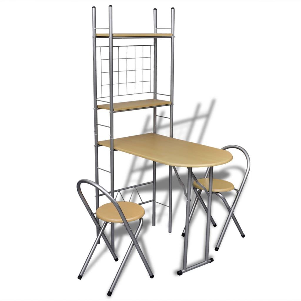 Skládací snídaňový set: barový stolek a 2 židle