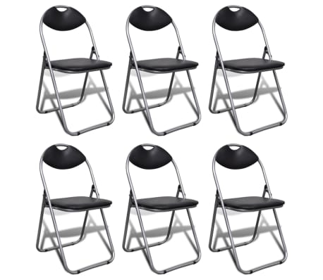 vidaXL Valgomojo kėdės, 6 vnt., sulankstomos, plieninis rėmas, juodos[1/10]