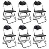 vidaXL Dining Chair 6 pcs Foldable with Steel Frame Black