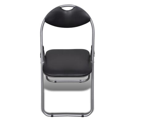 vidaXL Valgomojo kėdės, 6 vnt., sulankstomos, plieninis rėmas, juodos[3/10]